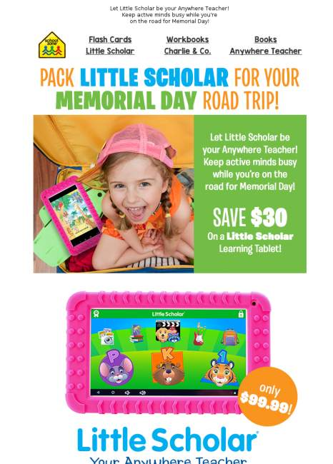 Save on Little Scholar® for Your Memorial Day Road Trip!